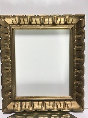 """VTG. MID-CENTURY Wide Carved Wood Chunky Picture FRAME Fits 10""""x12"""" Lot#2"""