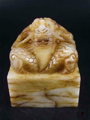Large Antique Old Chinese Celadon Nephrite Jade Carved Statue Chop Seal DRAGON