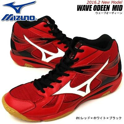 MIZUNO Unisex Volleyball Shoes WAVE ODEEN MID V1GA1655 Red X white X black