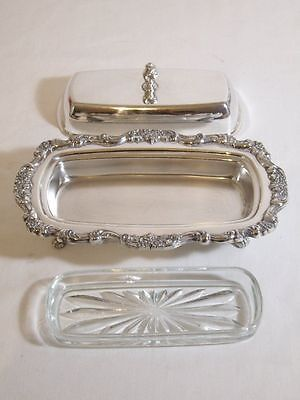 Poole Silver Co Lancaster Rose 413 Covered Butter Dish With Glass Liner