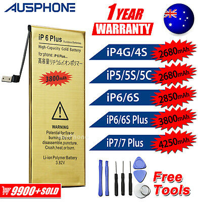 iPhone 4S 5S 5C 6 6S 7 PLUS High Capacity Battery Replacement Tools For Apple OZ