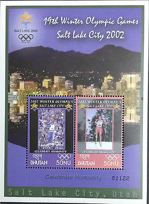 089.bhutan 2002  Stamp M/s  19Th. Winter Olympic Games , Sports . Mnh