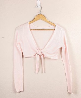 Bloch Light Pink Dance Crop Tie Front Knit Shrug Ballet Cover-Up Cardigan Small
