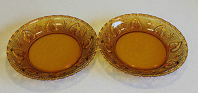 """Vintage """"KIG"""" Two Amber Depression Glass Shallow Dishes"""