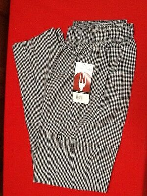 NWT Chef Works Cooks Pants - NBCP-000-XL Elastic & Drawstring Waist - Checkered