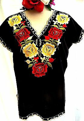 Black Blouse Frida Kahlo Floral EMBROIDERED Mexico Hippie Boho Peasant Sz L 3XL