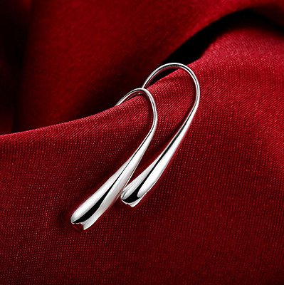 Womens 925 Sterling Silver Elegant Teardrop Charm Fashion Earrings #E18