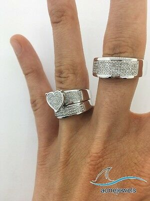 Men's Ladies 10K White Gold Round Cut Wedding Band Bridal Diamond Ring Trio Set