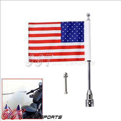 Universal Motorcycle American USA Flag pole Rack Mount For Harley Cruiser Custom