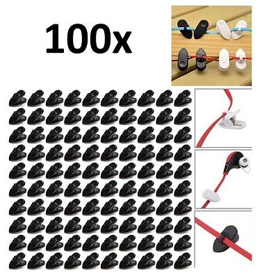 100 x Clips for Headphone Earbud Cable Wire Cord - Clamp Holder Mount - Black