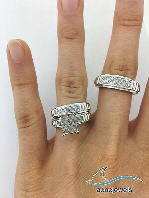 Diamond Trio Set His Hers Matching Engagement Ring Wedding Band 14K White Gold