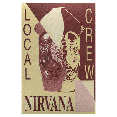 Nirvana Authentic 1993 In Utero Tour satin cloth Backstage Pass