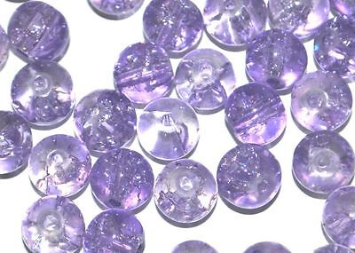 x100 COLOURED GLASS ROUND CRACKLE CRAFT BEADS - 4mm - LILAC / LAVENDER