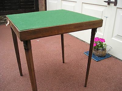 Nice vintage Wood Wooden folding card table Green Baize