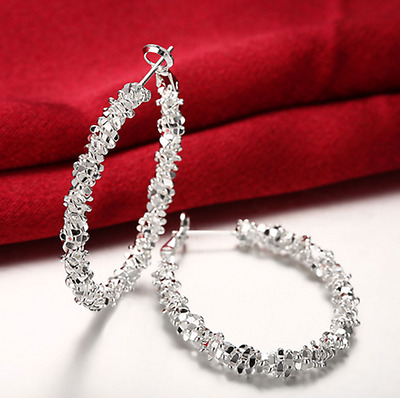 Womens 925 Sterling Silver Elegant U-Shaped Medium Size Hoop Earrings #E20