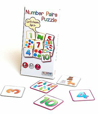 Childrens Kids Learning Card Number Pairs Puzzle Toy!