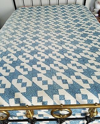 Americana antique quilt blue and white small patchwork postage stamp bowtie?