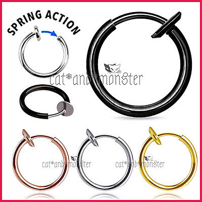8 - 12mm Fake Piercing Hoop Ring Spring Clip On Lip Nose Septum Ear Earrings 1PC