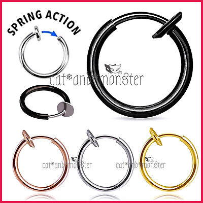 8 - 18mm Fake Piercing Hoop Ring Spring Clip On Lip Nose Septum Ear Earrings 1PC
