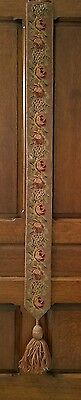 """needlepoint bell pull antique tapestry roses tassle victorian San Francisco 68"""""""