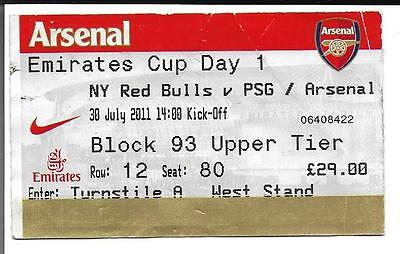 TICKET - 2011 EMIRATES CUP DAY 1 - NY RED BULLS v PSG /ARSENAL