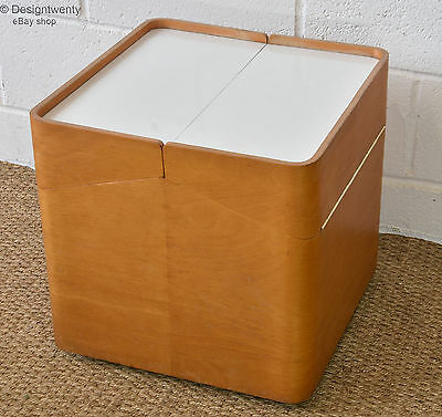 VINTAGE 60s BENT-PLY STORAGE CUBE UNIT TABLE Mid Century Retro Plywood Drinks