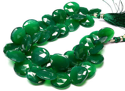 """PH-062 Genuine Green Oynx Heart Faceted Gem Beads 16mm-19mm 473Ct 8.5"""" Strand $"""