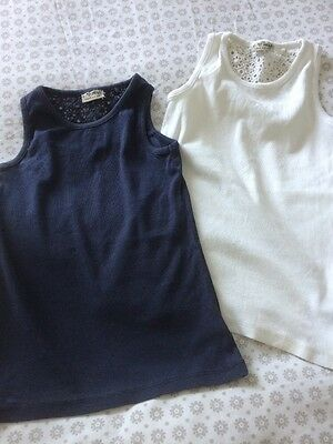 Two Girls Next Vest Tops Age 8 Years One Navy One White