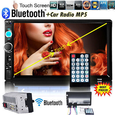 7inch HD 1080P Bluetooth Car Stereo Radio 2 DIN FM MP5 USB AUX Touch Screen