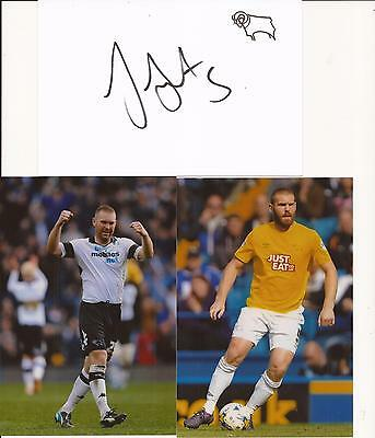Derby * Jake Buxton Signed 6X4 Crested Whte Card+2 Free Unsigned Photos+Coa