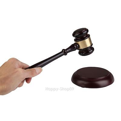 Wood Handcrafted Gavel + Round Sound Block Lawyer Judge Auction Sale Toy Gift