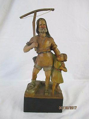 Antique Folk Art Carved Wooden Woodsman And Child - William Tell?