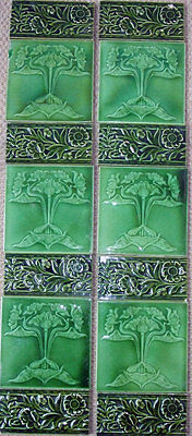 Unusual Antique Set  Art Nouveau Fireplace Tiles with HIgh Relief Floral Spacers