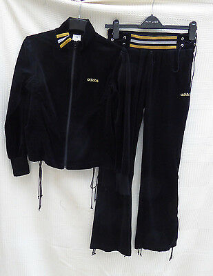 Adidas ladies black velor style track/leisure suit Size Top 12 Bottoms 10