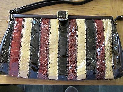 Jane Shilton Vintage Snakeskin & Brown Leather Handbag Adjustable Strap