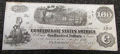 1862 Confederate States of America Richmond $100 One Hundred Dollars Banknote