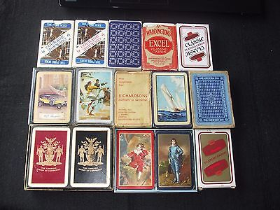 JOB LOT15 DECKS COLLECTABLE PLAYING CARDS (2x TWIN 11 x SINGLE MOSTLY VINTAGE)