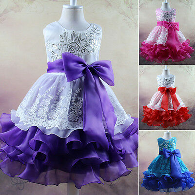 Kids Girls Lace Flower Pageant Princess Party Prom Princess Dress Bridesmaid