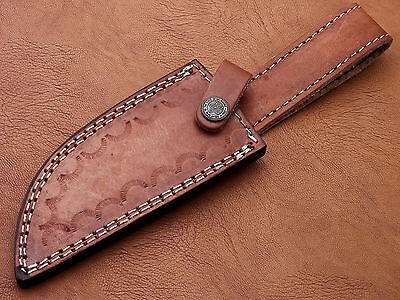 "Custom-Handmade-Textured-10""leather-Sheath-For-5""fixed-Blade-Knife- Ls-04"