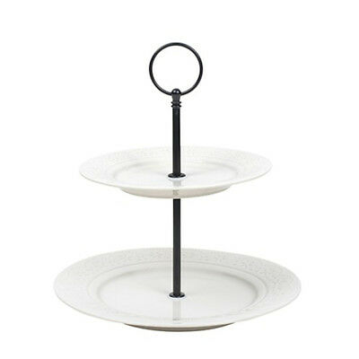 Cake Stand Serving Platter Two Tier Ceramic Cupcake Lacy