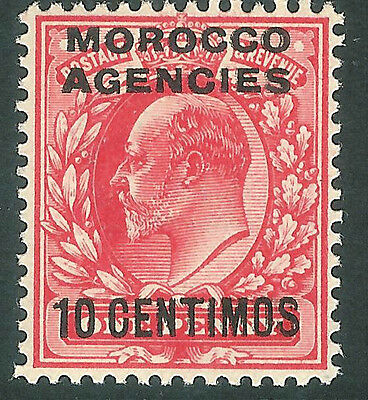 Morocco Agencies 1907 bright-scarlet 10c on 1d mint SG113a