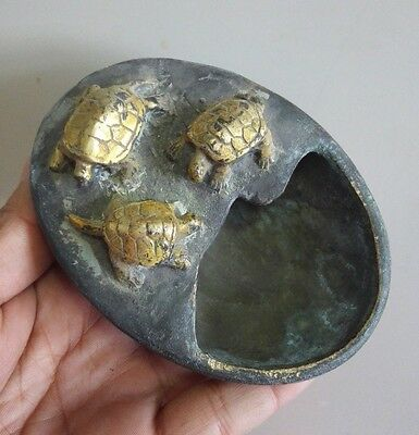 Old Collectible Decorated Bronze Gold Plate Three turtles Inkwell Brush Washer