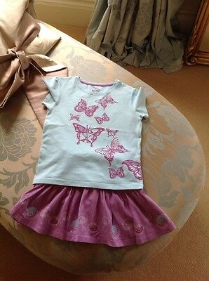 GIRLS TOP AND MINI SKIRT SET BY KITE KIDS - Age 4-5 IN EXCELLENT USED CONDITION