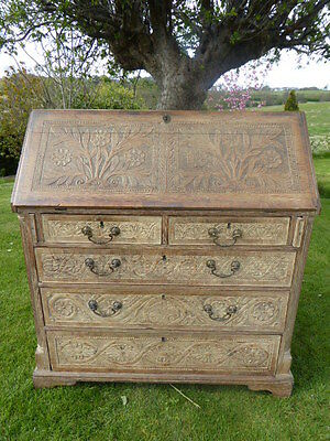 Carved Bleached Oak Bureaux 1780 Needs Minor Tlc No Reasonable Offer Refused