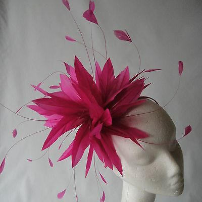 Fuchsia Pink Feather Fascinator for Weddings, Races and Proms
