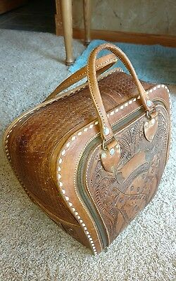 Vintage Womens Hand Tooled Leather Bowling Bag 1950S-1960S