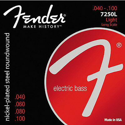 Fender 7250L Nickel-Plated Steel Roundwound Electric Bass Strings .040-.100