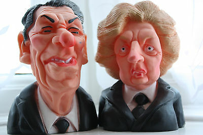 Vintage Margaret Thatcher & Ronald Reagan Spitting Image rubber squeaky toys