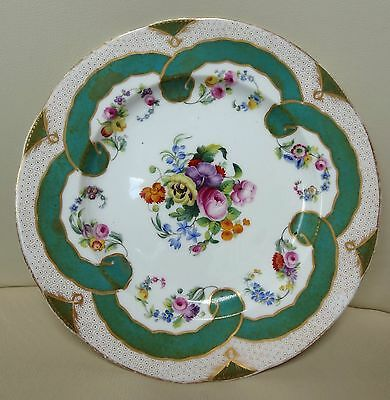 Sevres Porcelain Hand Painted Green Floral Ribbon Plate