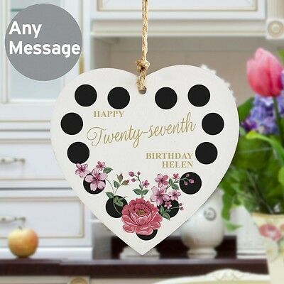 PERSONALISED Celebration Sign. Home Decor Wooden Heart. Birthday Congratulations